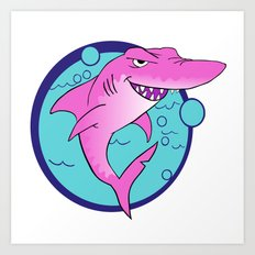 Crazy Shark! Art Print