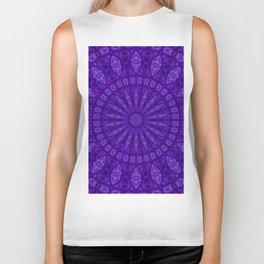 Ultra Violet and Purple Monotone Kaleidoscope Biker Tank