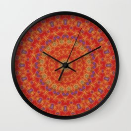 Intricate Red Mandala With Accents of Lilac and Gold Wall Clock