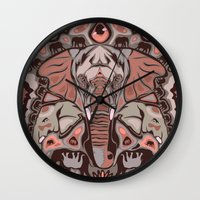 elephants Wall Clocks featuring Elephants by Darish