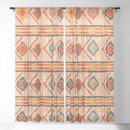 Southwestern Motif in Beige Sheer Curtain