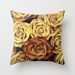 Blooming Roses, Flowers, Petals - Yellow Red Throw Pillow