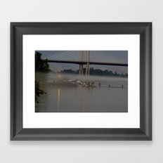 The fishing Dock on a misty evening Framed Art Print