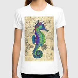 Seahorse Papyrus Map T-shirt