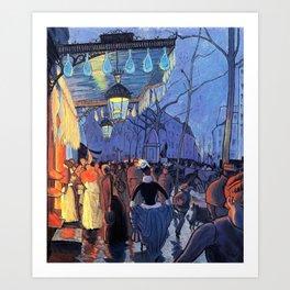 Avenue De Clichy, Five Hour In The Evening - Louis Anquetin Art Print