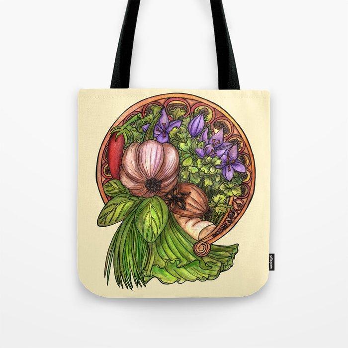 Art nouveau vegetables Tote Bag