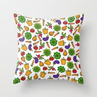 vegetables Throw Pillows featuring Vegetables by Alisa Galitsyna