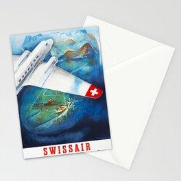 RUND-UND ALPENFLÜGE  - Vintage Swiss Travel Poster 1928 Stationery Cards