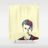 david tennant Shower Curtains featuring David Tennant - Doctor Who by lauramaahs