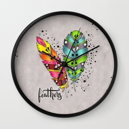 Two bright tribal feathers Wall Clock