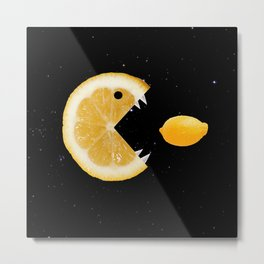 Funny Lemon Eats lemon Metal Print