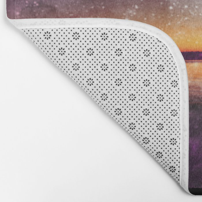 Violet Stars And Sunset Lake Bath Mat