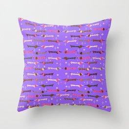 Dappled Dachshunds on Light Purple Throw Pillow