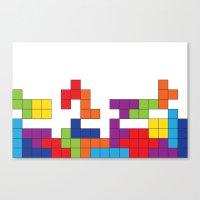 tetris Canvas Prints featuring Tetris by Jennifer Agu