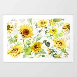 Watercolor Sunflower 3 Art Print