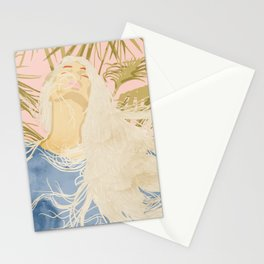 Blissful, Chic Tropical Palm, Jungle Blonde Woman Fashion Freedom Feminism Pastel Painting Stationery Cards