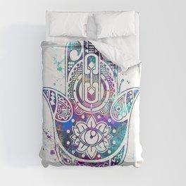 Hamsa Hand Colorful Watercolor Comforters