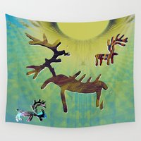 reindeer Wall Tapestries featuring reindeer by donphil