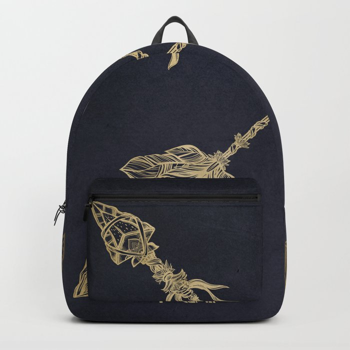 Arrows Gold Copper Bronze on Navy Blue Backpack