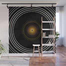 Modern Circular Abstract with Gold Mandala Wall Mural