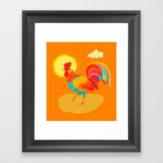 Orange Rooster Framed Art Print
