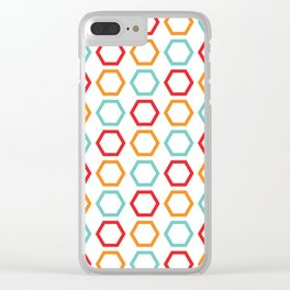 Red, Orange, & Blue Hexagons on White Clear iPhone Case