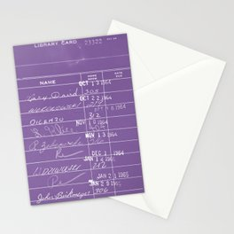 Library Card 23322 Negative Purple Stationery Cards
