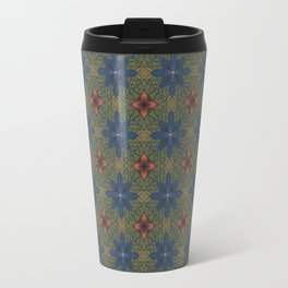 blue and red flowers Travel Mug