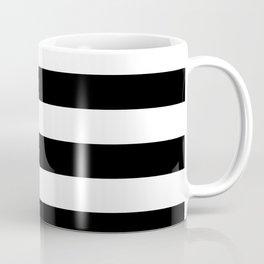 Even Horizontal Stripes, Black and White, L Coffee Mug