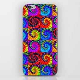 Spiral Tie Dye Checkerboard iPhone Skin