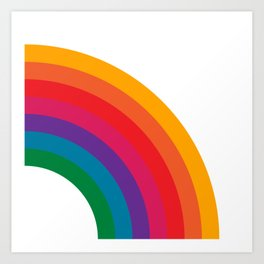 Retro Bright Rainbow - Right Side Art Print