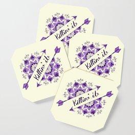 Arrow Mandala 'Killin It' Typography Purple Coaster