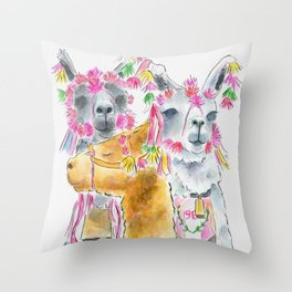Happy alpacas watercolor Throw Pillow
