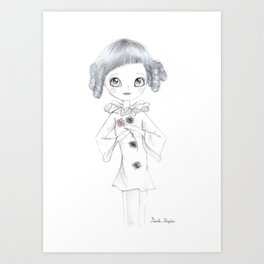 Pierrette Clown Girl Art Print