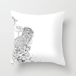 Stippled Peacock  Throw Pillow