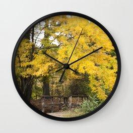 The Bridge Beneath the Yellow Tree Wall Clock