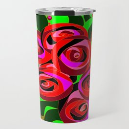 A Bouquet of Roses with Black Petals and Buds of Red Travel Mug