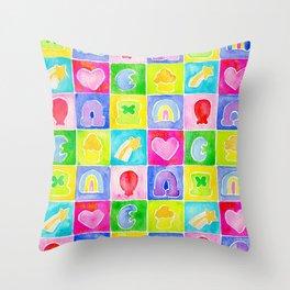Rainbow Charms Throw Pillow