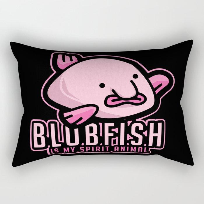 Blobfish Is My Spirit Animal - Funny Meme Ugly Fish Illustration Rectangular Pillow