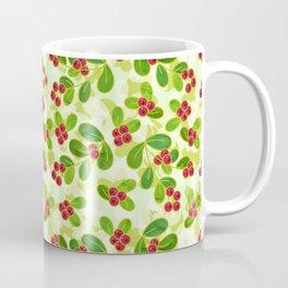 Cranberry Fruit Pattern on Green Coffee Mug