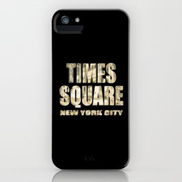 Times Square New York City (golden glow on black) iPhone Case