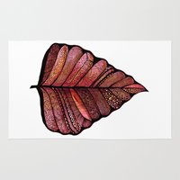 decal Area & Throw Rugs featuring Modern leaf art | green leaves wall decal | botanical leaf decor | botanical leaves | leaf & plant by WestridgeART