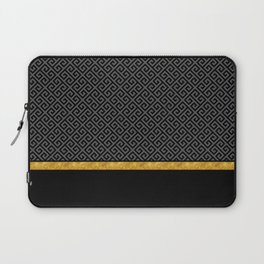 Chic Black Gray Greek Key Gold Border Laptop Sleeve