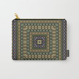 Square geometric ornament in olive color Carry-All Pouch