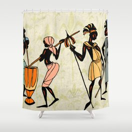 Man ethic african people collage Shower Curtain