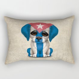 Cute Puppy Dog with flag of Cuba Rectangular Pillow