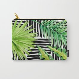 Tropical Leaves Watercolor on Black and White Pattern Carry-All Pouch