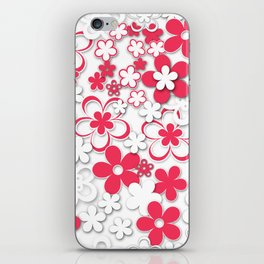 Red and white paper flowers 2 iPhone Skin