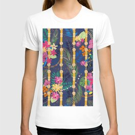 Tropical Flowers Golden Belt and Chain Vibrant Colored Trendy Pattern T-shirt