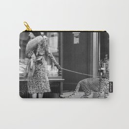 Woman with Cheetah, Phyllis Gordon, with her pet Kenyan cheetah, Paris, France black and white photo Carry-All Pouch